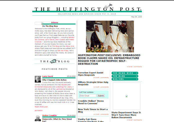 Huffington Post design at launch