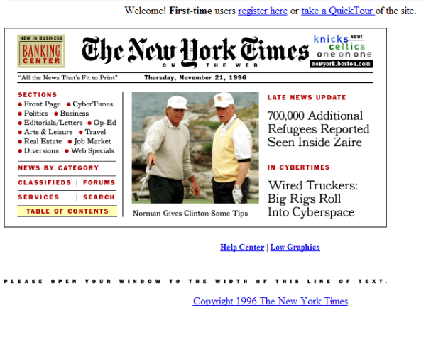 NY Times design at launch