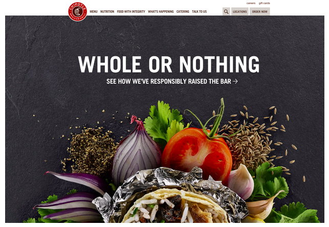 Chipotle's website user interface