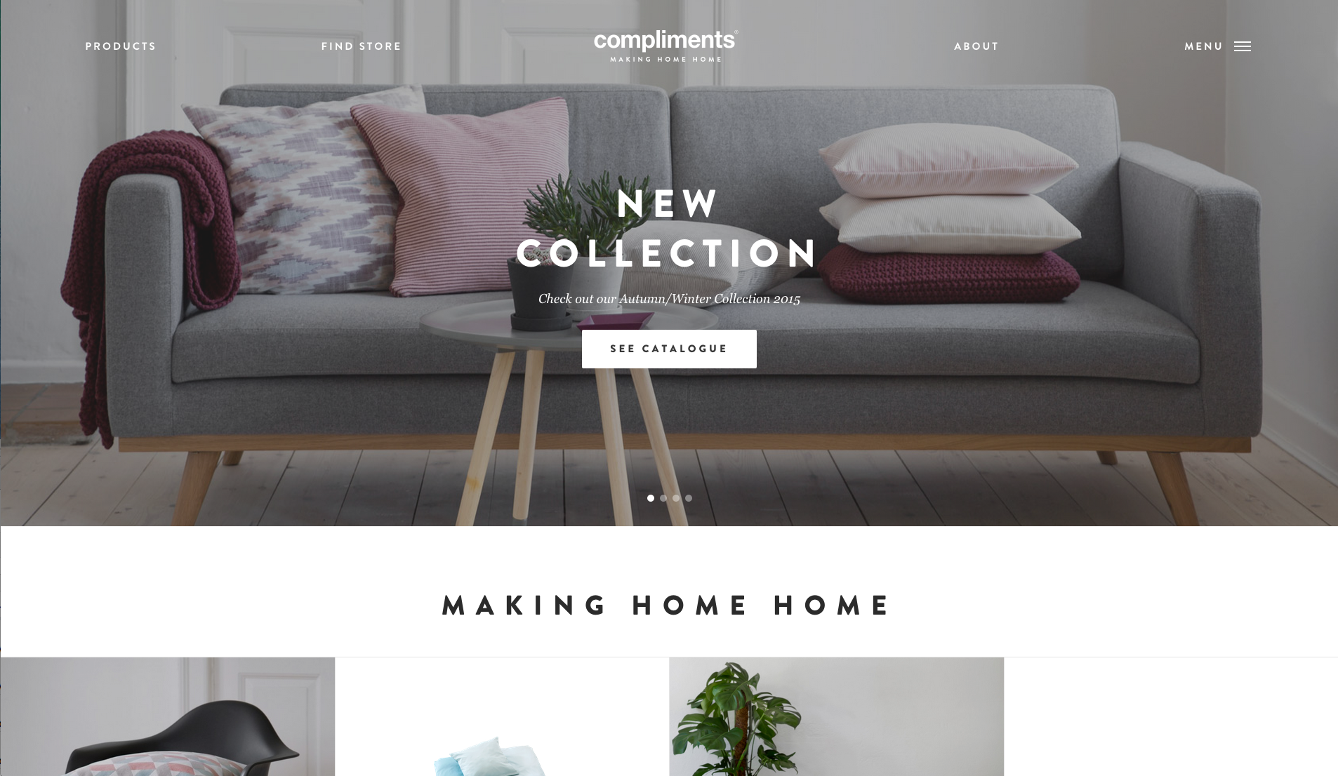 photo of a comfortable sofa behind crisp, white text that says 'New Collection,' presumably of trendy furniture
