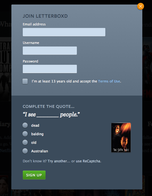 Screenshot of Letterboxd user interface