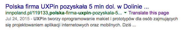 Screenshot of a Google result in Polish