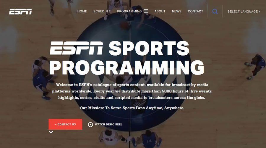 Screenshot of ESPN's website