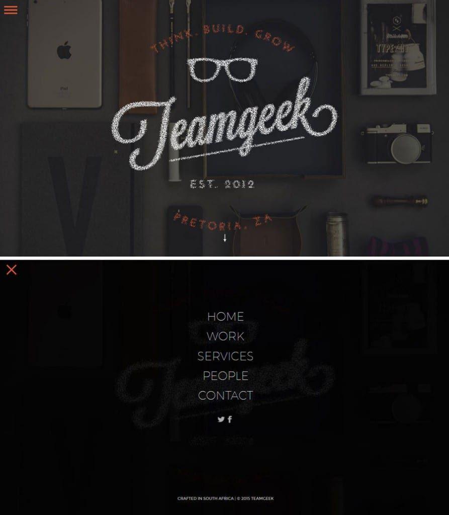 Screenshot of Team Geek's website