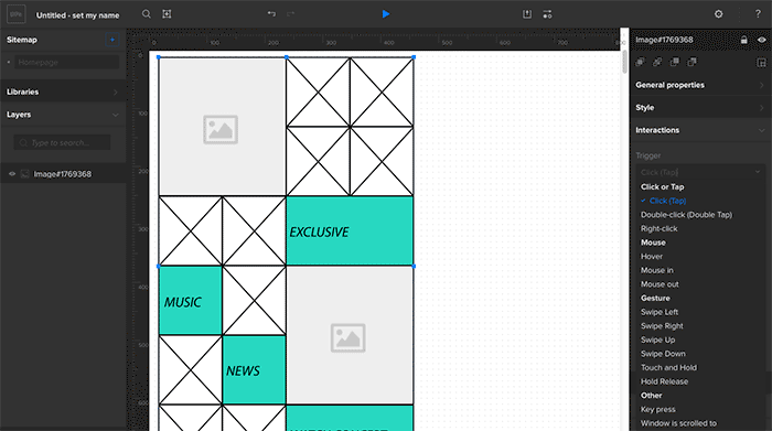 Sample prototype wireframe