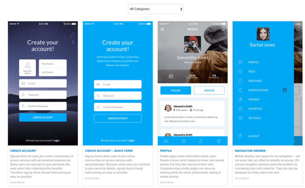 Screenshot of UXPin user interface design patterns