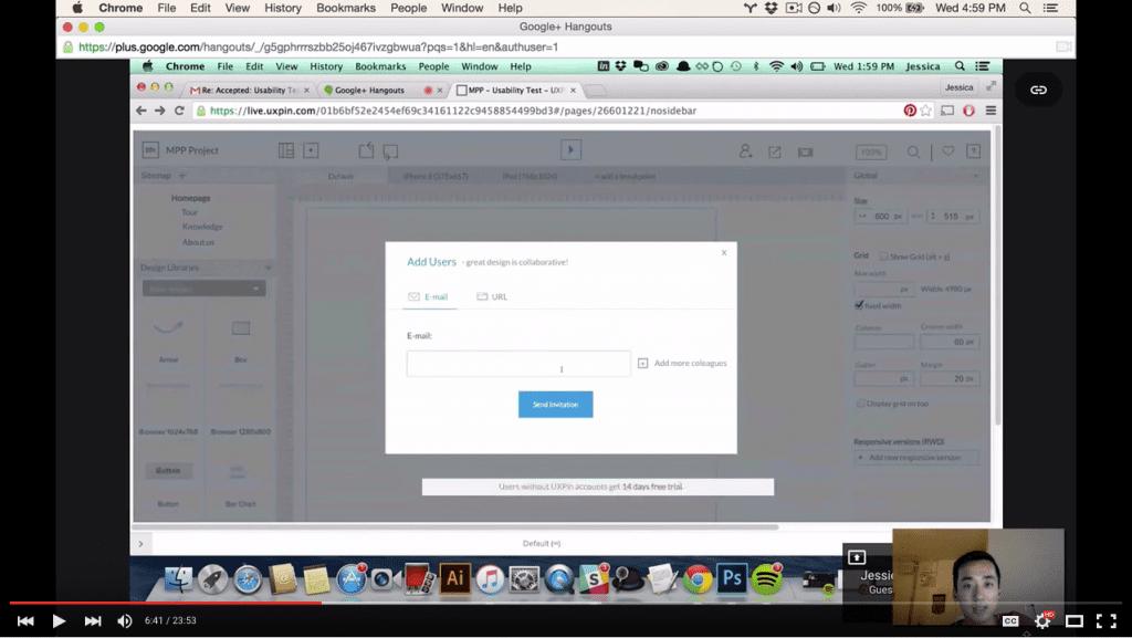 Screenshot of a user test getting feedback