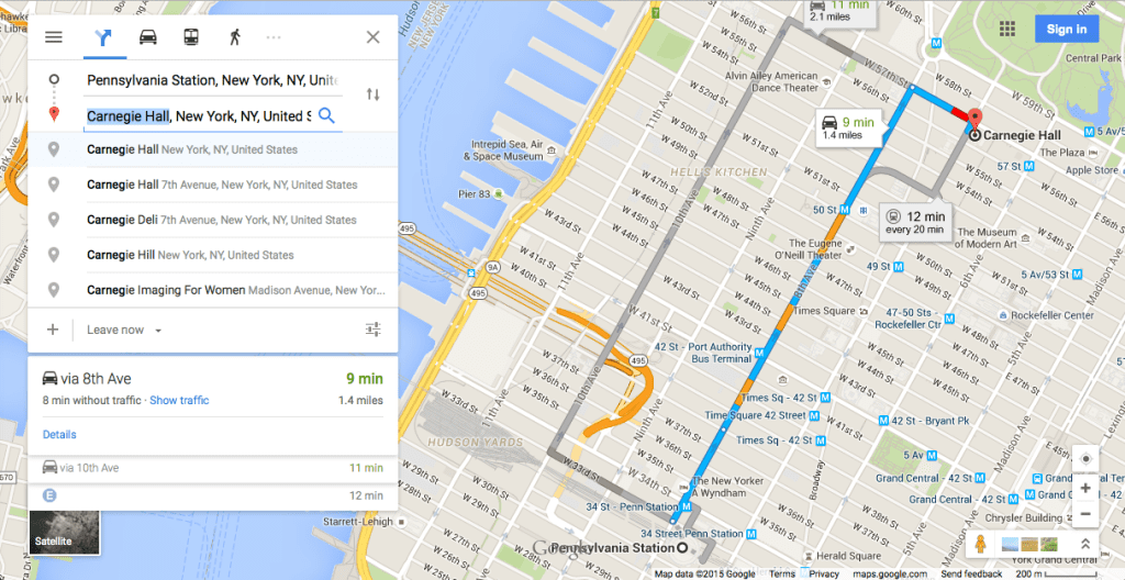 Screenshot of Google Maps' user interface