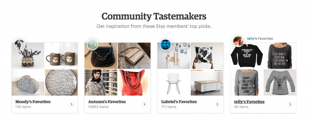 Screenshot of Etsy's user interface