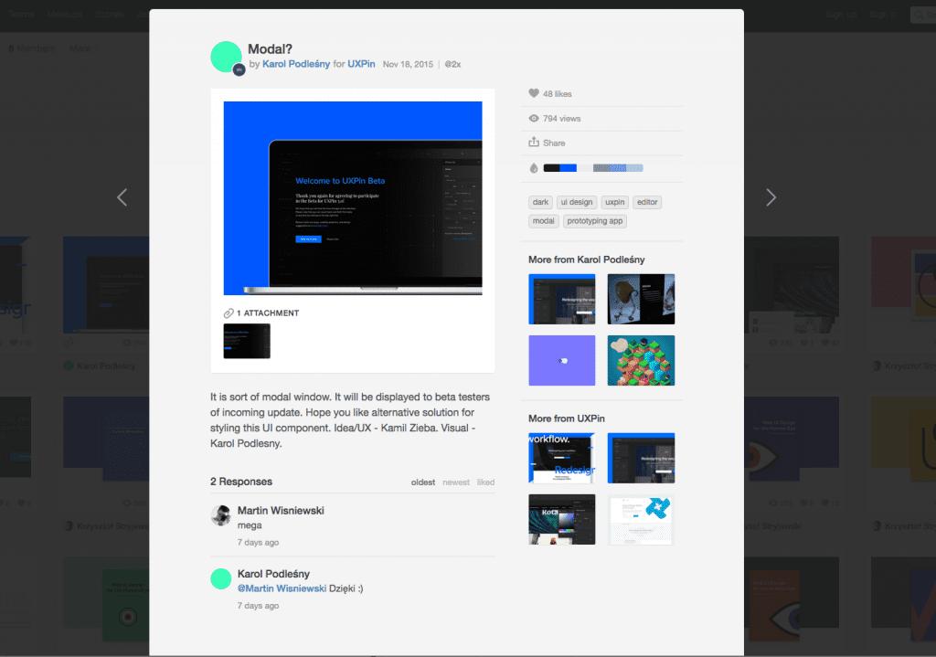 Screenshot of Dribbble's user interface