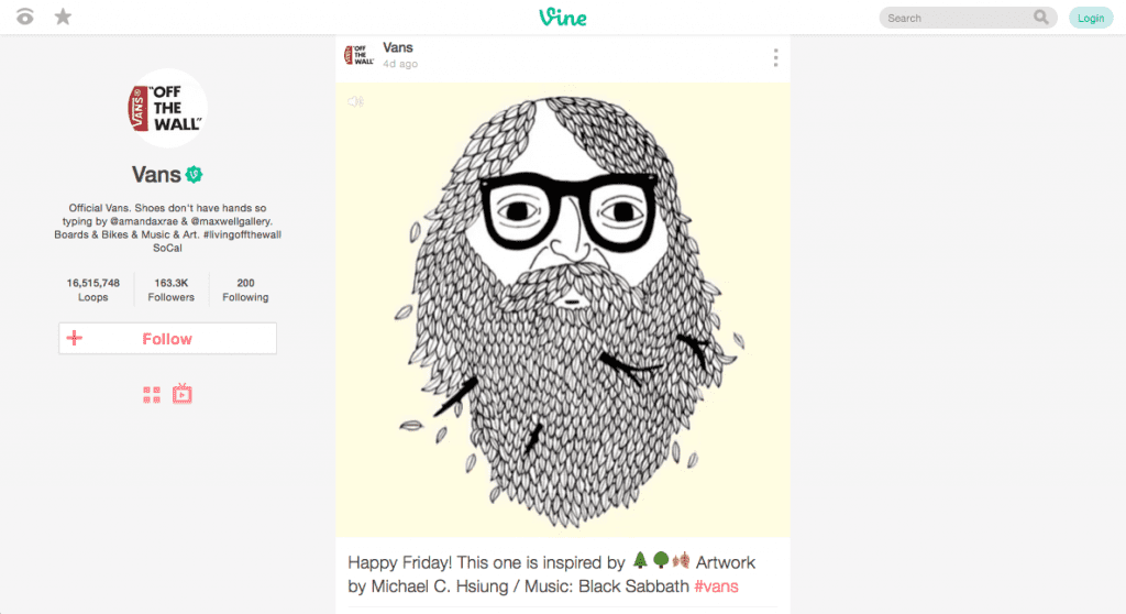 Screenshot of Vine's website user interface