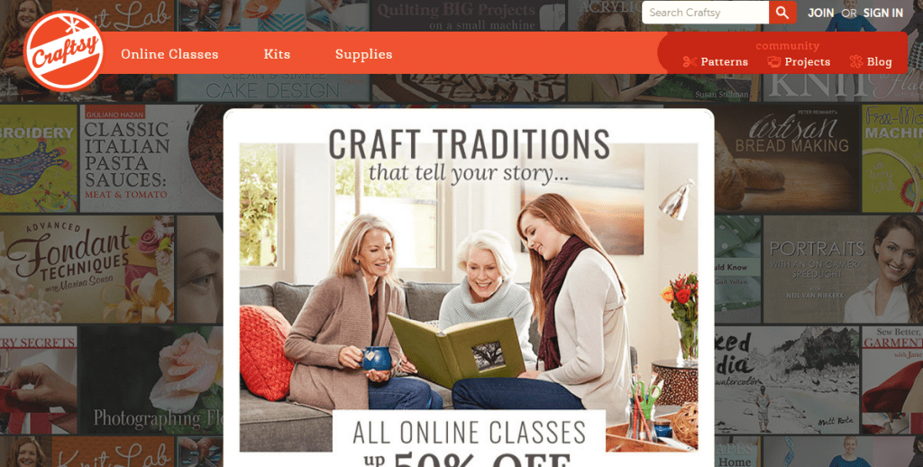 Craftsy's user interface