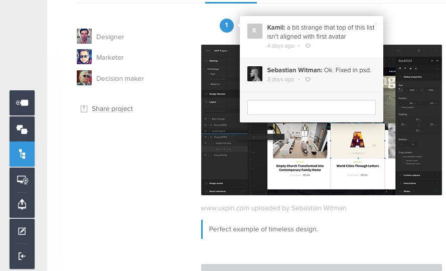 Screenshot of giving feedback in UXPin