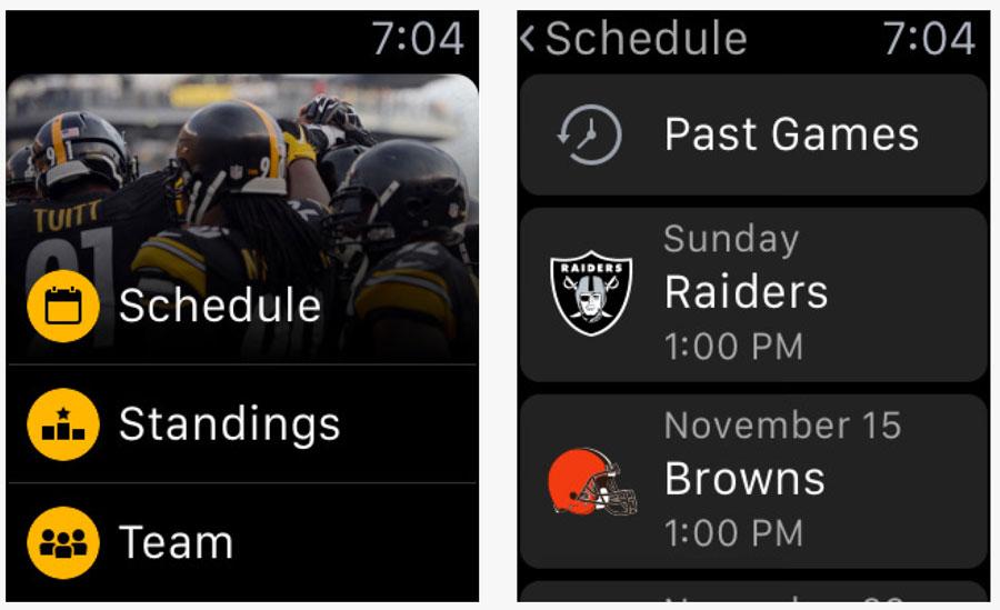 Screenshots of the Apple Watch user interface