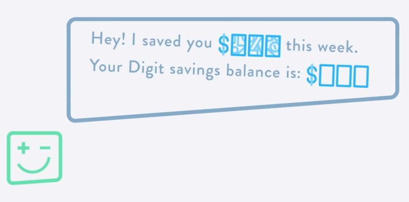 Screenshot of Digit's online app