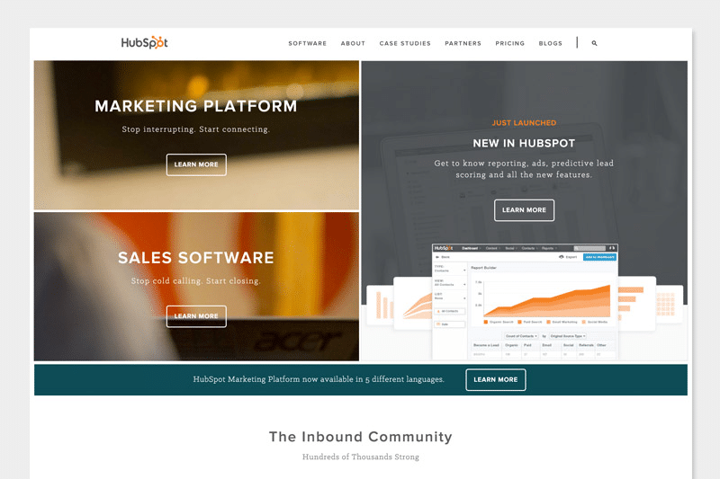 HubSpot homepage redesign 2016