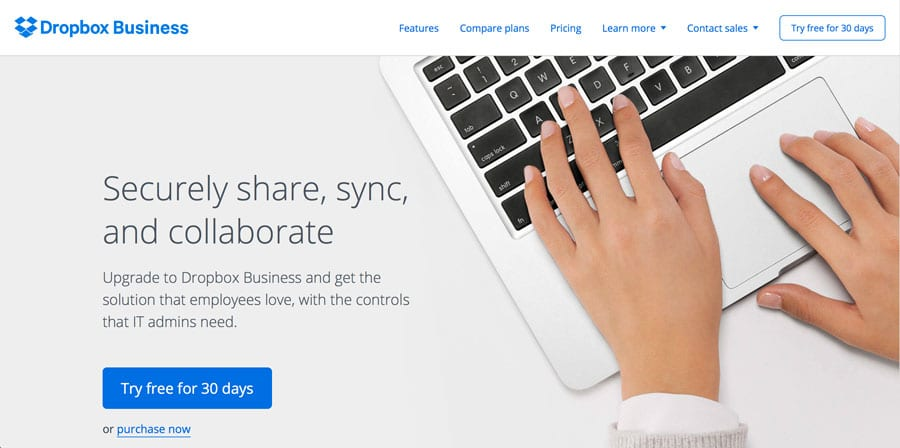 Dropbox Business webdesign