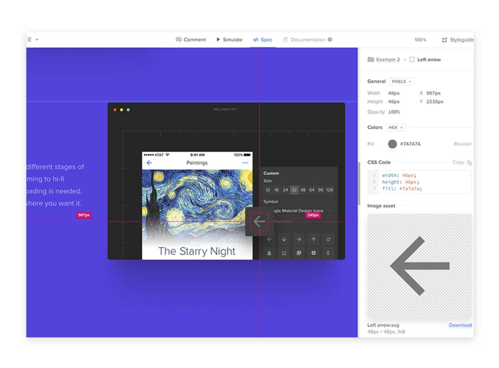 Spec mode access with UXPin