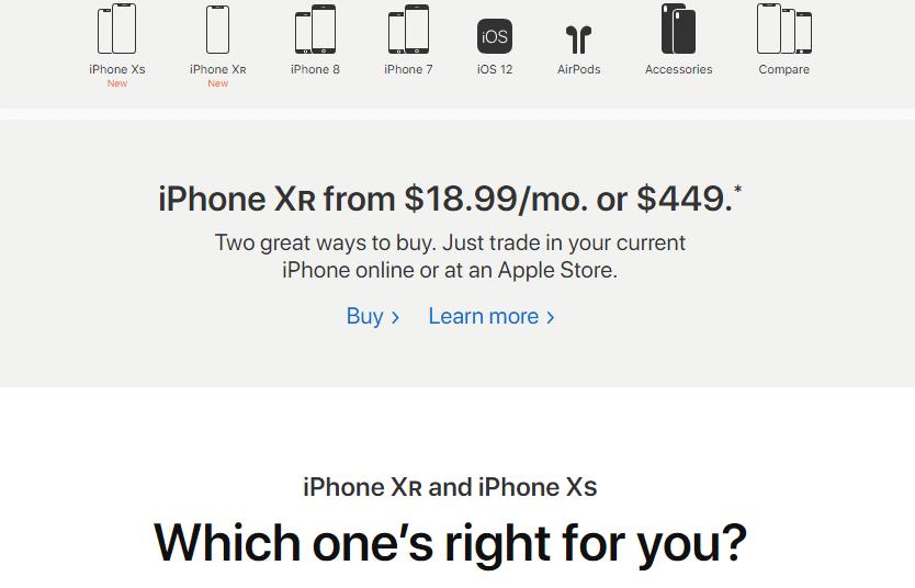 Screenshot of the Iphone webpage